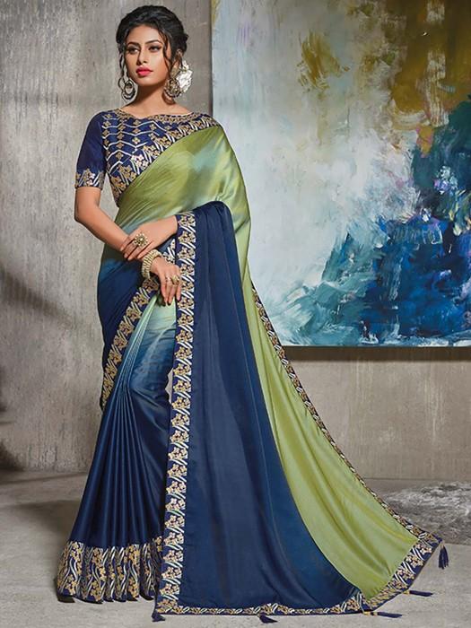Blue And Green Half And Half Satin Saree