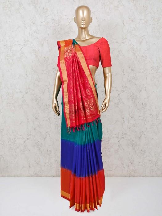 Blue And Orange Pure Silk Saree