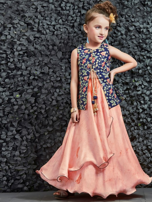 Blue and peach designer girls gown - G3-GGO0357 | G3fashion.com