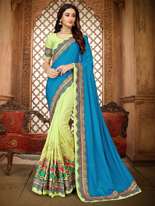 Blue And Pista Green Half And Half Embroidered Saree