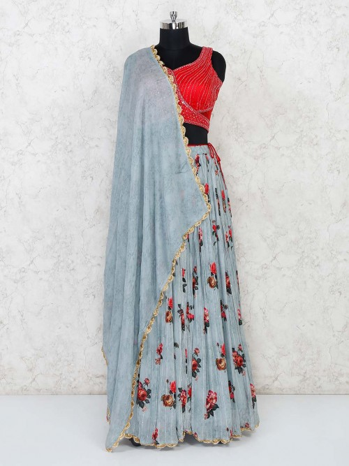 Blue And Red Georgette Wedding Lehenga Choli