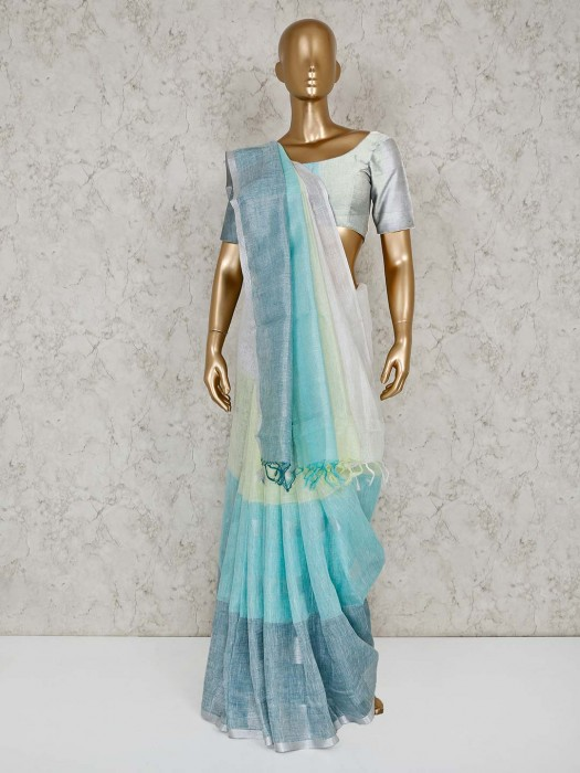 Blue And White Line Saree