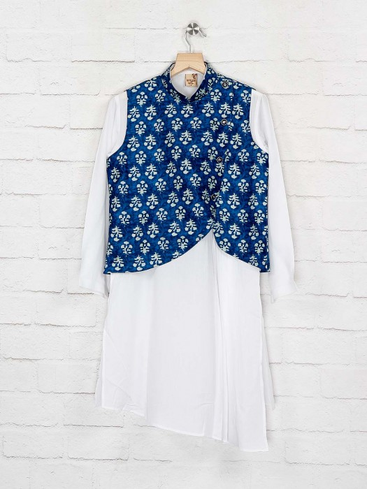 Blue And White Printed Cotton Waistcoat Set