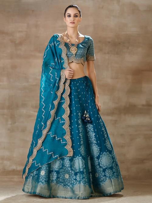 Blue Banarasi Silk Lehenga For Wedding