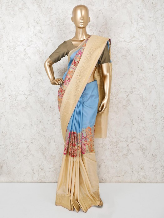Blue Beige Semi Silk Sari For Wedding