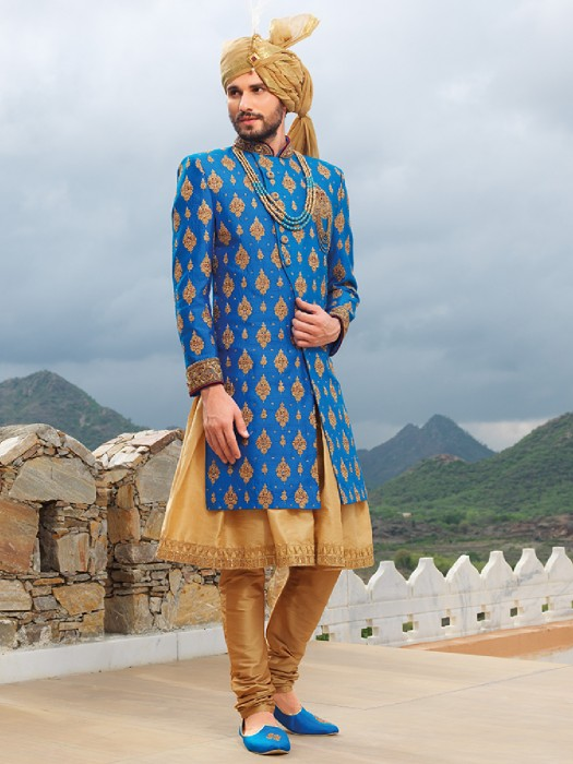 Blue Beige Silk Wedding Wear Sherwani