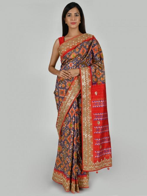 Blue Classic Saree In Patola Silk