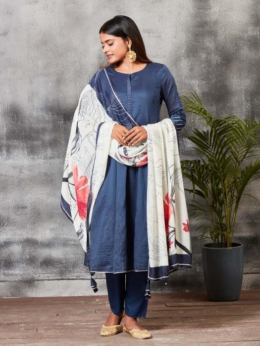 Blue Color Chanderi Silk Salwar Suit
