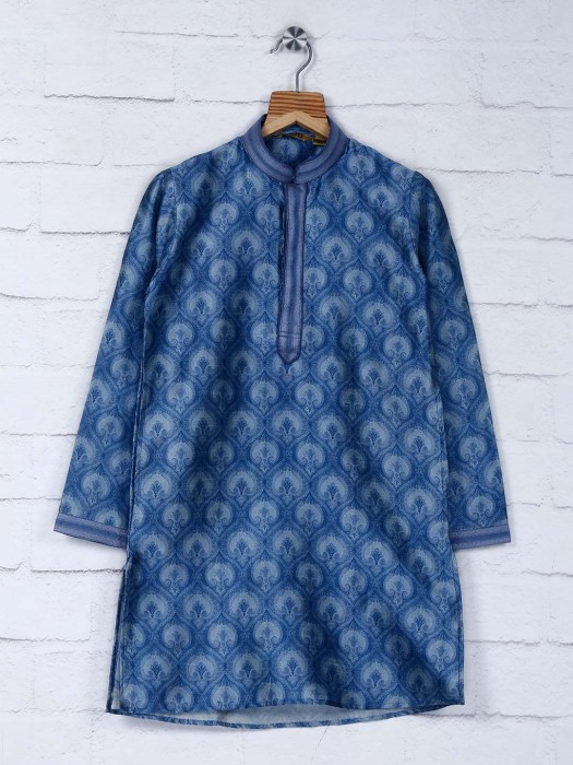 Blue Color Cotton Printed Kurta Suit