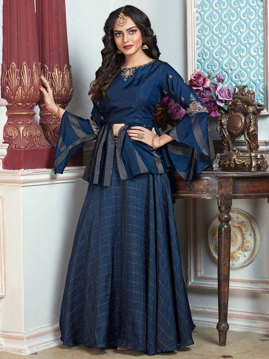 Blue Color Festive Wear Cotton Lehenga Choli