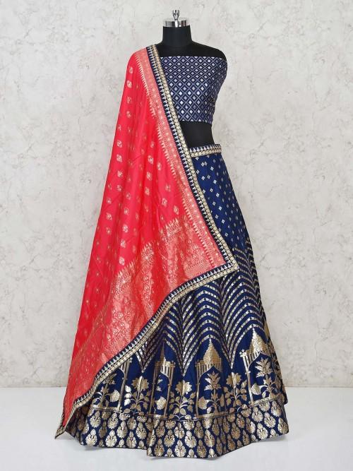 Blue Color Semi Stitched Lehenga Choli In Banarasi Silk