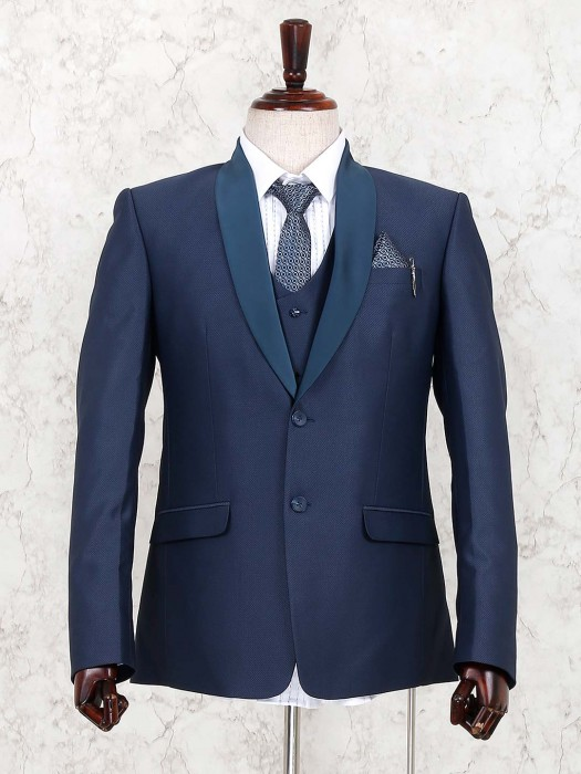 Blue Color Three Piece Suit In Terry Rayon Fabric