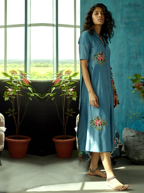 Blue Colored Cotton Suit With Threadwork Details
