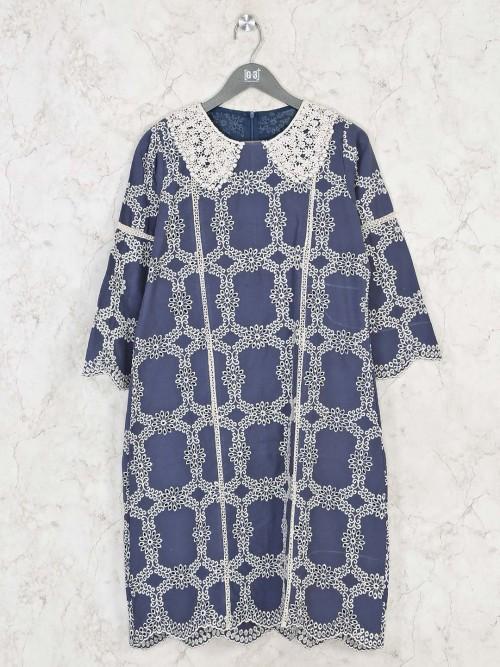 Blue Cotton Aline Kurti For Festivals