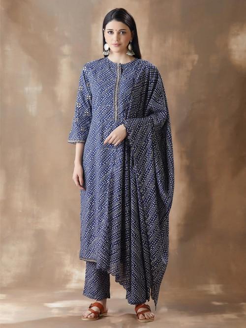 Blue Cotton Festivals Wear Pant Style Salwar Suit