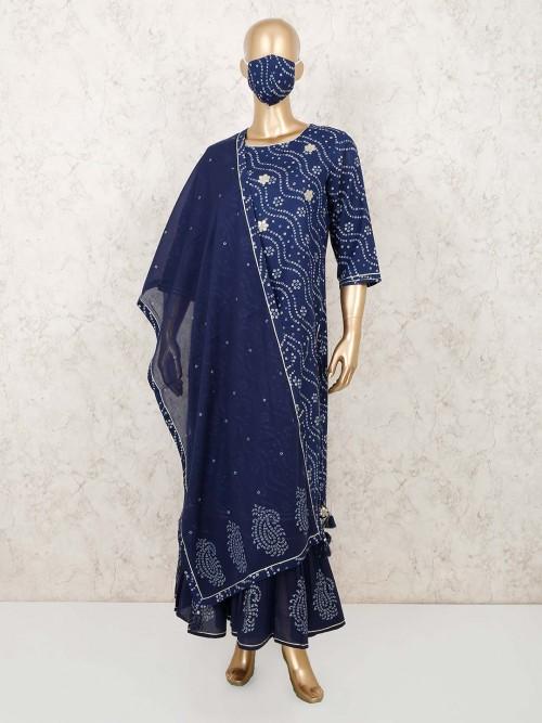 Blue Cotton Festive Wear Printed Sharara Suit