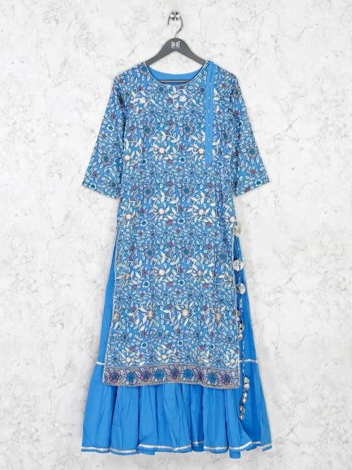 Blue Cotton Kurti In Printed Design