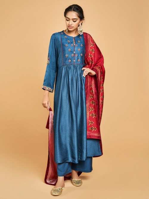 Blue Cotton Silk Palazzo Salwar Suit For Festival