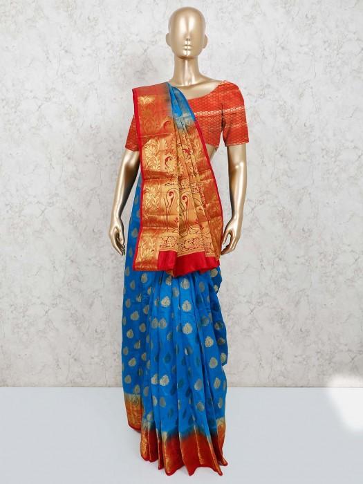 Blue Cotton Silk Saree In Jacquard Design