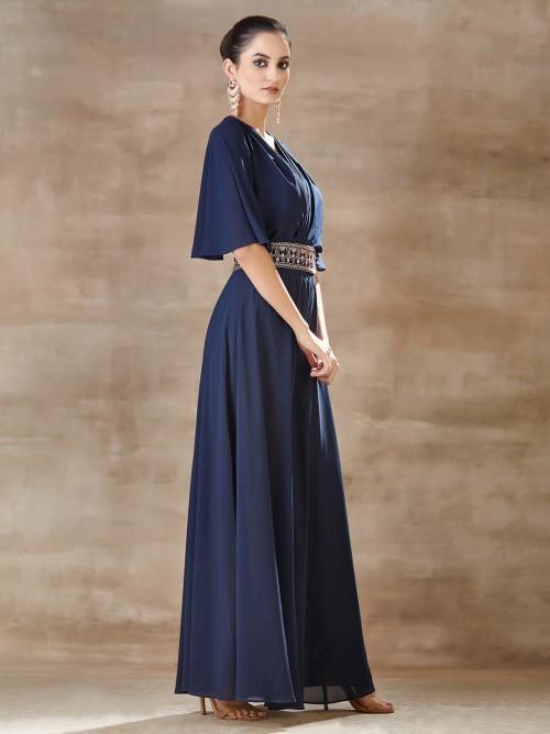 Blue Designer Indo Western In Georgette For Festive