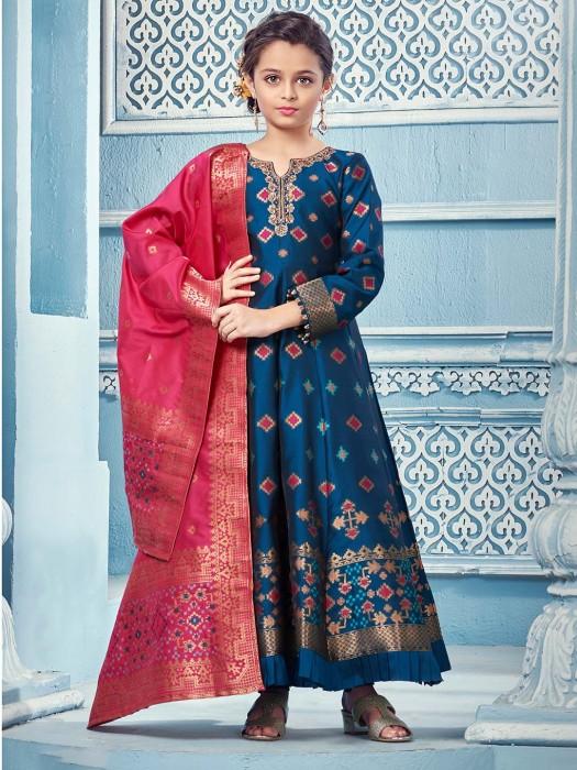 Blue Floor Length Anarkali Salwar Suit In Cotton Silk