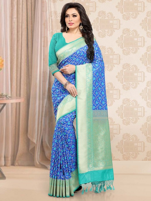 Blue Hue Elegant Saree In Banarasi Silk