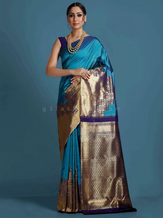 Blue Kanjivaram Silk Zari Weaving Saree