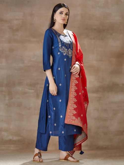 Blue Pant Style Salwar Suit In Cotton Silk