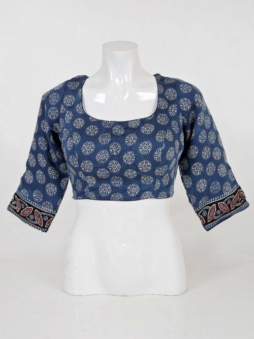 Blue Printed Cotton Readymade Blouse For Wedding