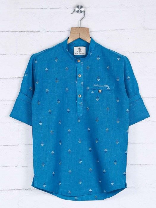 Blue Printed Pattern Full Sleeves Kurta