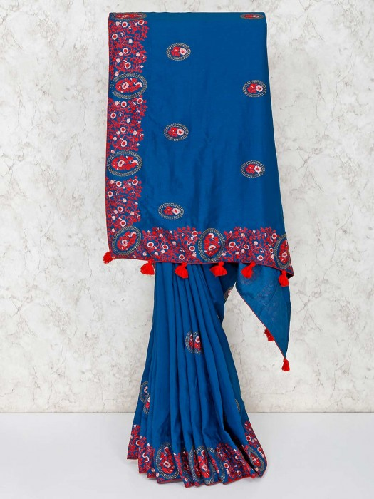 Blue Semi Silk Saree With Red Blouse Piece