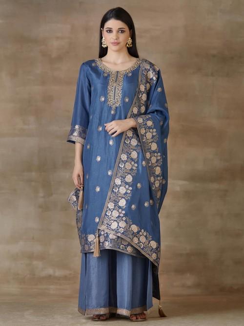 Blue Sharara Salwar Suits For Festivals In Cotton Silk
