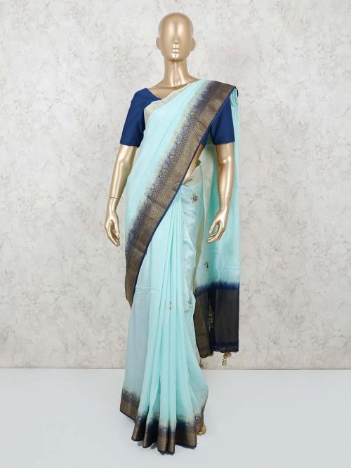 Blue Silk Saree For Festive Occasion