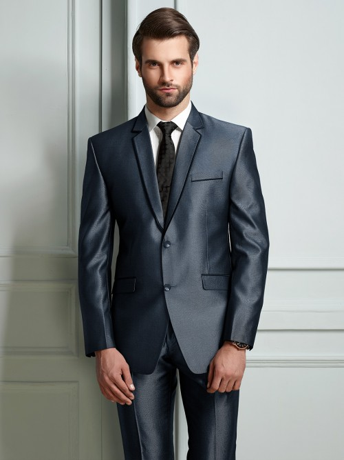 Blue Terry Rayon Fabric Party Mens Coat Suit
