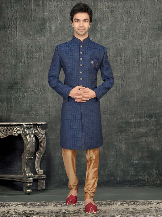 Blue Terry Rayon Mens Indo Western