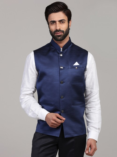 Blue Terry Rayon Waistcoat For Mens Part Wear