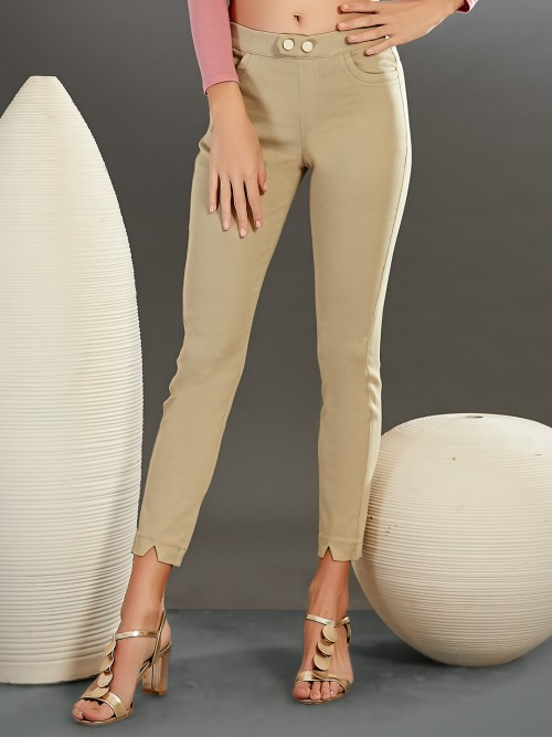 Boom Casual Wear Beige Jeggings In Cotton
