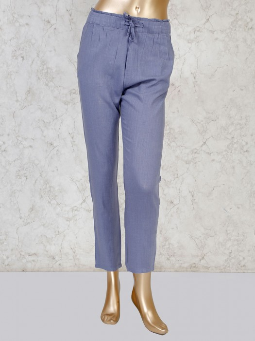 Boom Light Grey Linen Solid Pant