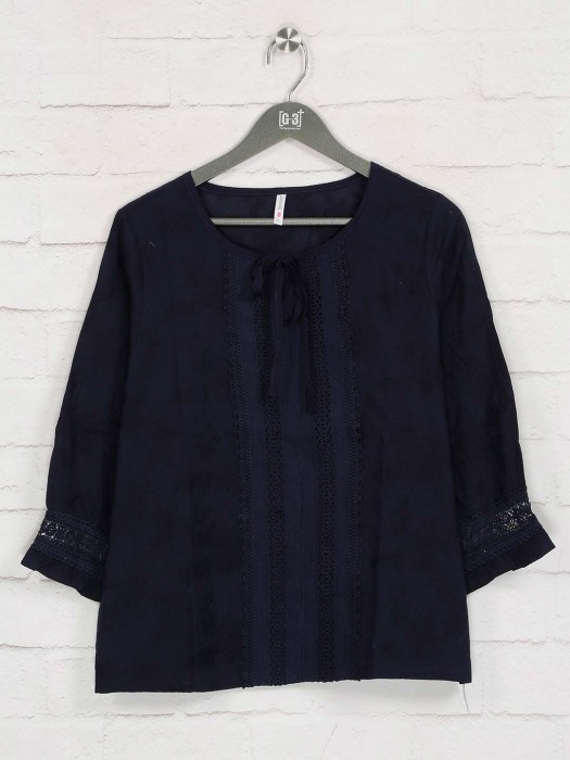 Boom Navy Cotton Quarter Sleeves Top