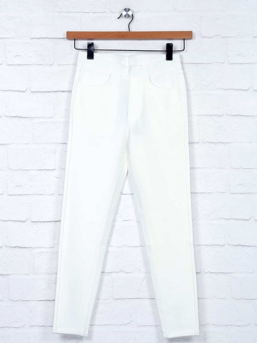 Boom Off White Cotton Jeggings