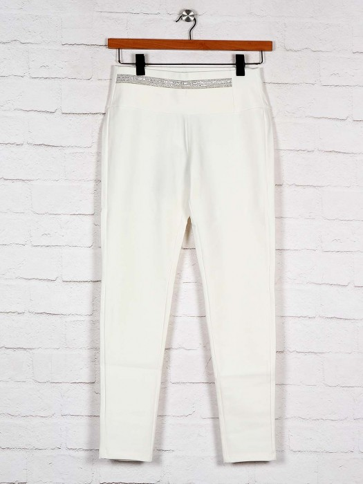 Boom Off White Slim Fit Cotton Jeggings