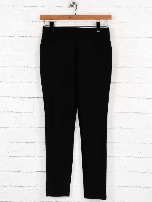 Boom Skinny Fit Black Solid Jeggings
