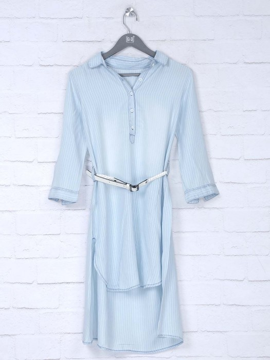 Boom Sky Blue Cotton Tunic Dress For Women