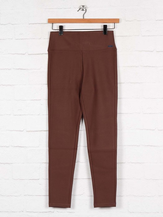 Boom Solid Brown Cotton Jeggings