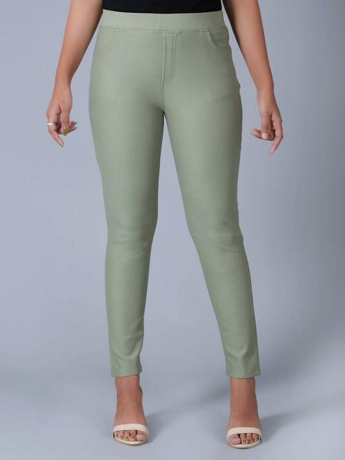 Boom Solid Pista Green Slim Fit Jeggings