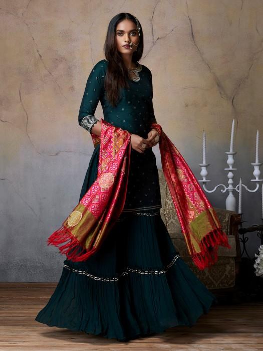 Bottle Green Cotton Silk Party Punjabi Sharara Suit