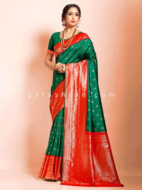 Bottle Green Designer Art Banarasi Silk Saree For Wedding