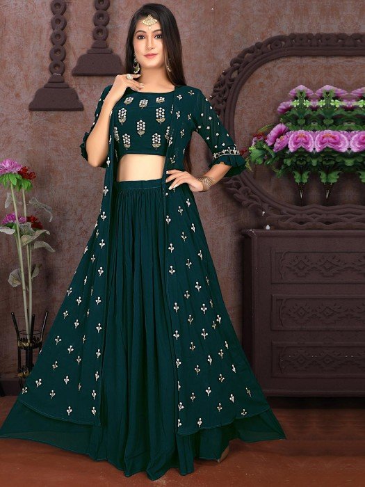 Bottle Green Georgette Jacket Style Crop Top Lehenga Suit