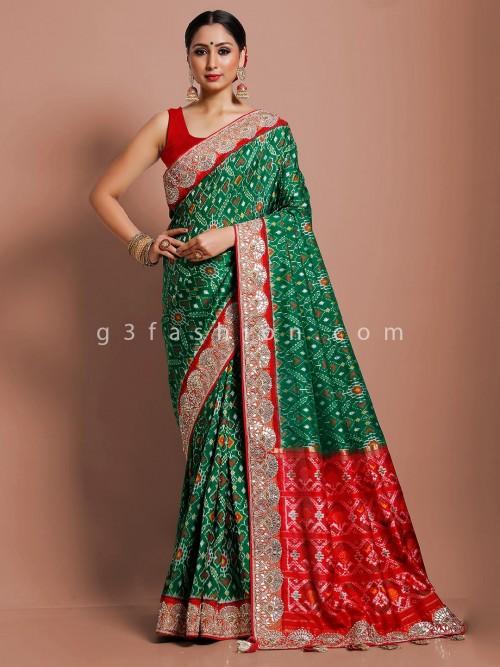 Bottle Green Hydrabadi Patola Silk Designer Latest Saree