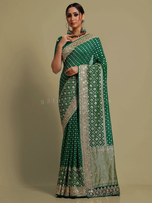 Bottle Green Mesury Georgette Wedding Saree